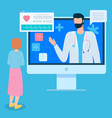 woman consults with cardiologist online via vector image