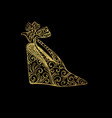 woman sandals or lady shoe golden ornament vector image vector image