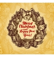Xmas wreath vintage Merry Christmas and Happy New vector image