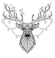 Zentangle Hand drawn magic horned Deer for adult vector image vector image