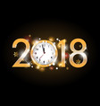 2018 new year golden letters with clock on black vector image vector image