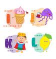 alphabet children colored letter i j k l vector image