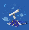 astronomy class on blue background vector image vector image