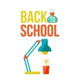 Back to school poster with table lamp and flower vector image vector image