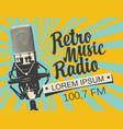 banner for retro music radio with microphone vector image vector image