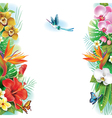 Border from tropical flowers and leaves vector image vector image