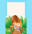 border template with two girls on the bridge vector image vector image