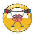 brainpower healthy emblem label vector image vector image