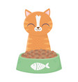 cat sitting with bowl food cartoon vector image vector image