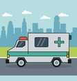 colorful background with ambulance on the vector image