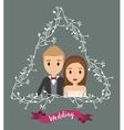 couple floral cartoon wedding icon graphic vector image vector image