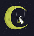 cute astronaut sits on swing in space vector image vector image