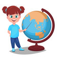 cute girl points to the globe with a pointer vector image vector image