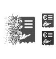 decomposed dot halftone euro invoice icon vector image