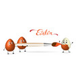 easter eggs paint red brush vector image