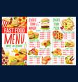 fast food menu with burger and pizza ingredients vector image
