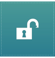 Flat open padlock icon vector image