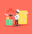 flat young man cooks fry in kitchen vector image