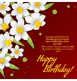 Floral decorative card with white narcissus vector image vector image