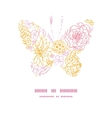 flowers outlined butterfly silhouette vector image
