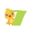 funny cute chick bird and number seven birthday vector image vector image
