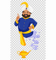 genie flying out of golden lamp vector image