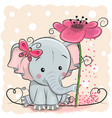 greeting card elephant with flower vector image