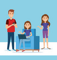 group of young people in the sofa avatars vector image vector image