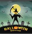 halloween silhouette pumpkin killer in night grave vector image vector image