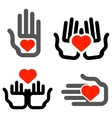 hands and heart logo design template vector image vector image