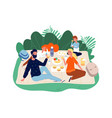 happy family time parents and kids on picnic vector image vector image