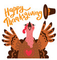 happy thanksgiving card with turkey cartoon vector image vector image