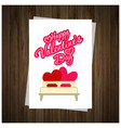 happy valentines day card with wooden background vector image