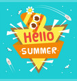 hello summer ribbon ice cream triangle background vector image