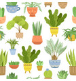 house plant pattern interior plants background vector image