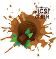 ice cream chocolate ball dessert choose your taste vector image vector image
