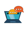laptop and speech bubbles design vector image vector image