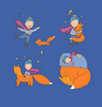 little cute boy and foxes fairy tale about the vector image