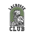 logo design lacrosse club with man holding vector image vector image