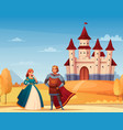medieval characters background vector image vector image