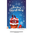 merry christmas vertical banner with santa claus vector image vector image