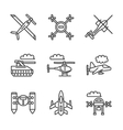 Military unmanned vehicles flat line icons vector image vector image