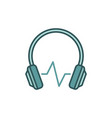 modern headphones with sound wave colored vector image vector image