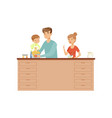 mom dad and their little son cooking together vector image vector image