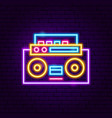 music recorder neon label vector image vector image