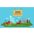 Natural food Farm and city vector image vector image