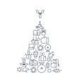 new year lined icons set vector image vector image