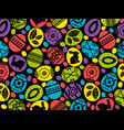 pattern with color easter eggs flowers vector image