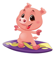 Pig with surf vector image