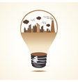 Polluted cityscape in bulb vector image